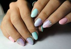Blue, pink, and purple nails