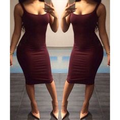 Sexy Scoop Collar Sleeveless Solid Color Bodycon Women's Dress