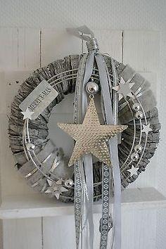 Türkranz / Wandkranz grau/silber 35 cm Stern silber, Merry X-MAS Sterne