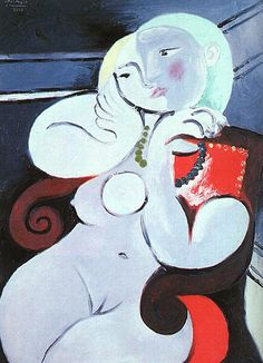 Pablo Picasso「Female nude sitting in red armchair」