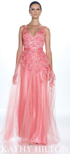 Kathy Hilton style • H21070    Lace over tulle gown with deep V-neckline