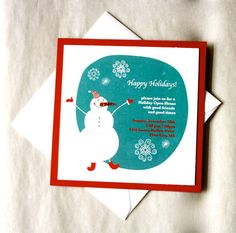 Glitter on My Nose Snowman Invitation by When & Where Invites on Etsy Price: $2.50 each  Buy It Now!: http://etsy.me/12FmJkL  #handmadeinvitations #invitations #custominvitations #partyinvitiations #invites #weddinginvitations #announcements #birthdayinvitations #customaddresslabels #addresslabels #holiday #holidayinvitations