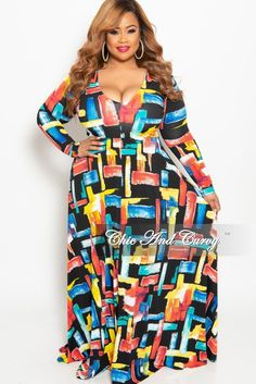 7684968ae4a41 Plus Size Long Sleeve V-Neck Gown in Multi Color Design Print – Chic And