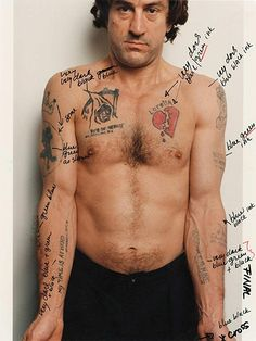 Martin Scorsese's notes on Robert De Niro's tattoos in Cape Fear - Ruby Soho Art Print Martin Scorse Martin Scorsese, Donald Pleasence, Michael Myers, Tatuaje No Fear, Charlie Chaplin, Fear Tattoo, Poke Tattoo, Tattoo Art, Schrift Tattoos