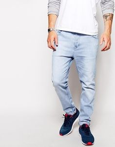 $54, Light Blue Jeans: Asos Brand Stretch Tapered Jeans In Light Wash. Sold by Asos. Click for more info: http://lookastic.com/men/shop_items/136914/redirect