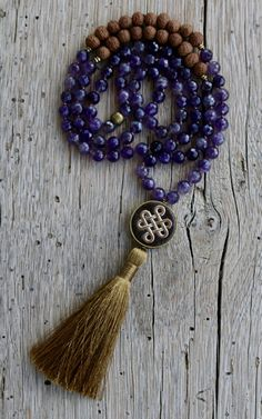 Amethyst Mala Beads 108 knotted Yoga Mala beads Bodhi Seeds