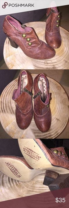 Seychelles leather booties Super comfortable boogies. Worn leather with 3 buttons for looks. Inside zipper for easy wear. Great condition. 3 1/2 inch heel Seychelles Shoes Ankle Boots & Booties