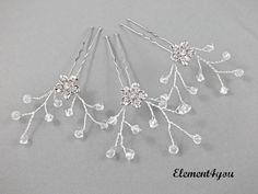 Bridal rhinestone hair pins Crystal vines Wedding by Element4you, $18.00