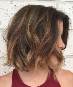 Brown Wavy Bob With Highlights