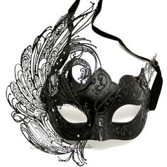 Black Masquerade Mask - Luxury Venetian Filigree Black Swan Laser Cut... ($50) ❤ liked on Polyvore featuring masks, accessories, masquerade, costumes, jewelry and filler