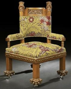 L. C. Tiffany Walnut Roundabout Chair shown at right. Louis Comfort Tiffany was famous for his work in glass but he also designed textiles, ...