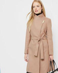 Magnetic clasp long coat - Camel   Jackets & Coats   Ted Baker UK