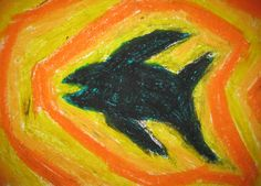 The importance of color. Art lesson for children aged 12. Oil pastels. Silhouette plus self chosen color palette and pattern for the background.