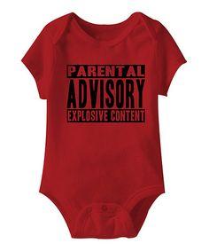 Love this Red 'Parental Advisory' Bodysuit - Infant on #zulily! #zulilyfinds