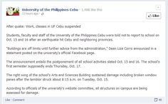 Cebu, Philippines - There will be no class in both private and public schools in all levels in Cebu and Bohol Provinces.