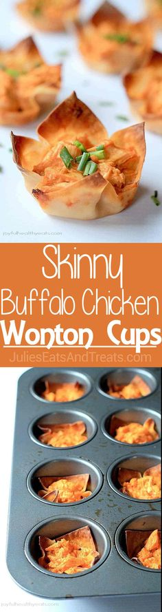 """Skinny Buffalo Chicken Wonton Cups ~ Your favorite Buffalo Dip in """"skinny"""" form and all packed inside a crispy wonton wrapper! via (wonton appetizers) Wonton Recipes, Tapas Recipes, Appetizer Recipes, Diet Recipes, Diabetic Recipes, Diabetic Cake, Catering Recipes, Atkins Recipes, Recipies"""