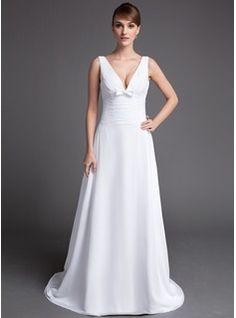 A-Line/Princess V-neck Chapel Train Chiffon Wedding Dress With Ruffle Bow(s)