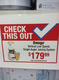 Look at the deal I got on my Omega Juicer. This thing is usually $400 bucks!