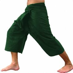 ab9d34de69452 Olive Drab Fisherman Pants Thai Massage Pregnancy Beach Pants 3/4 Length **  Check