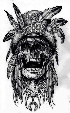 Tattoo Drawings for Men - Ideas and Designs for Guys Tattoos And Body Art tattoo drawings Tatto Skull, Indian Skull Tattoos, Skull Tattoo Design, Skull Art, Bird Skull, Indian Tattoo Design, Indian Head Tattoo, Indian Chief Tattoo, Pirate Skull Tattoos