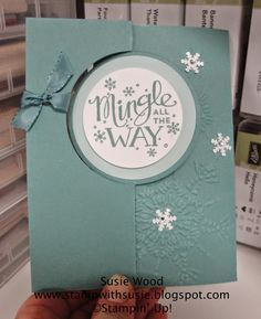 Stampin' Up!- A snowflake Christmas card using the Circle Card Thinlit with 'Mingle All The Way'!