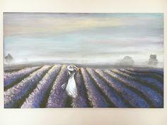 lavender painting  canvas 100x60 cm acrylic