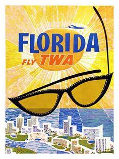 AP1258 - Florida, TWA Travel Poster, Artsit: David Klein, 1960s (30x40cm Art Print)