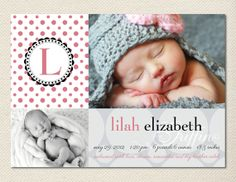 Baby Girl Birth Announcement by JPapers on Etsy, $20.00