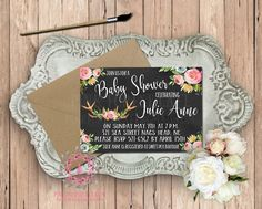 Baby Bridal Shower Birthday Party Invitation Announcement Invite Deer Antlers Chalkboard Woodland Watercolor Floral Rustic Printable Art Stationery Card