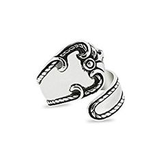 Sterling Silver Antique Finish Victorian Inspired Spoon Motif Ring: Amazon.co.uk: Jewellery