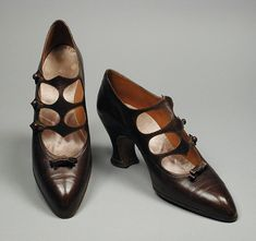 Pair of Woman's Pumps Pietro Yantorny (Italy, active France, Paris, 1874–1936) France, Paris, circa 1922 Costumes; Accessories Kid leather, leather 10 1/2 x 3 x 5 1/4 in. (26.67 x 7.62 x 13.33 cm) each; Size: 9 Gift of Mrs. Helen Crocker Russell (54.129.18a-b) LACMA
