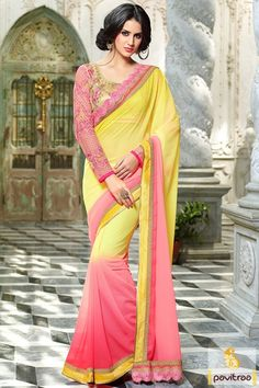 New latest designer collection pink and yellow color chiffon saree. This pretty Indian party wear saree keep you upgrade with new fashion trends 2016 -2017. #saree, #designersaree more: http://www.pavitraa.in/store/chiffon-saree/