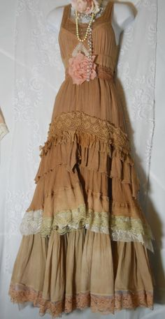 Tea Stained Prairie Dress