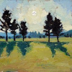 Up at Sunrise.  Oil landscape painting of the sun rising over the Adirondack, NY. Artist: Charlotte Partridge