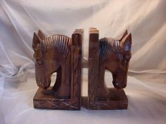 Vtg Carved Monkey Pod Horse Book Ends Hand Crafted 8 inches tall Wood Hawaii Seller florasgarden on ebay