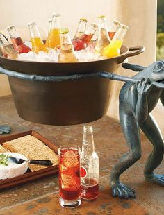 Whimsical and fun, the Frog Beverage Tub and Stand carries your favorite beverages through all your parties.