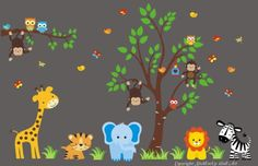 """Baby Nursery Wall Decals Safari Jungle Children's Themed 85"""" X 147"""" (Inches) Animals Trees Wildlife: Repositionable Removable Reusable Wall Art: Better than vinyl wall decals: Superior Material Nursery Wall Decals http://www.amazon.com/dp/B00DFEKY7M/ref=cm_sw_r_pi_dp_jsQUvb1ZET43Q"""