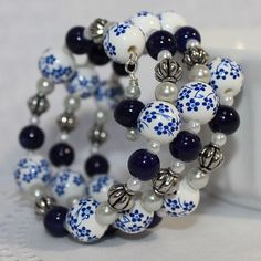 Memory Wire Beaded Bracelet Wrist Wrap Ceramic Beads and Glass Pearls Blue and White Womens Jewelry