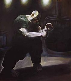 "* PETER HOWSON OBE (SCOTTISH 1958- ) YESTERDAYS HERO (1986 -1987) oil on canvas, signed 247 x 219 cm 8ft x 7ft (unframed) Provenance : Robert Heller`s book ""Peter Howson"" page 36. Exhibited The Peter Howson Retrospective 2nd July-5th September 1993 staged by Glasgow Museums & Galleries at The McLellan Galleries- (on loan from the current owner). Also exhibited at Paisley Museum & Art Gallery (2001) on loan from the current owner. Private collection Glasgow."