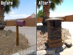 Mailbox remodel - with fake stone paneling
