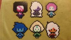 "torra-kitty: ""Finally finished my Steven universe set! Designing Pearl and Lapis was very difficult "" Perler Bead Designs, Perler Bead Templates, Pearler Bead Patterns, Perler Patterns, Perler Beads, Perler Bead Art, Fuse Beads, Art Perle, Ac New Leaf"