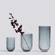 Hay's Colour vases are beautiful glass objects with simple curved lines and a graphic pattern that brings in mind a contemporary crystal cut. Designed by Scholten & Baijings, the vases come in three sizes and make attractive vessels for any flower arrangements.