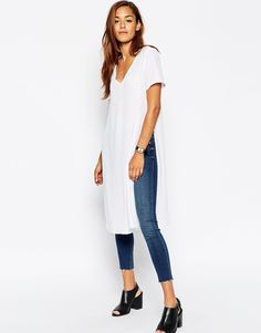 b3b51c9405349d T-shirt by ASOS Collection Lightweight semi-sheer chiffon V-neckline Side  splits Extreme longline cut Regular fit - true to size Machine wash  Polyester Our ...