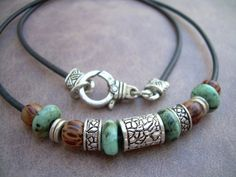 African Turquoise and Antique Silver Bead Leather by MalibuCreek, $23.99