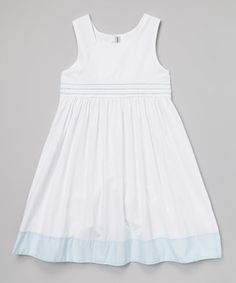 Sweet Dreams White & Blue Smocked A-Line Dress - Infant, Toddler & Girls by Sweet Dreams #zulily #zulilyfinds