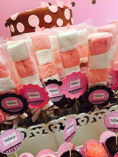 Decoração marrom e rosa, infantil, meninas, Candy Bar, festa infantil.