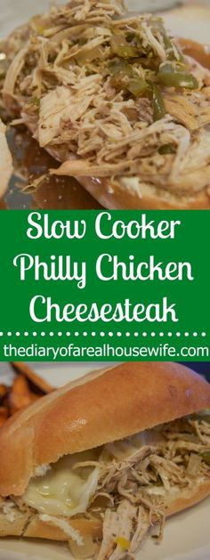 Slow Cooker philly chicken cheesesteak. I love this recipe. We ended up eating the leftovers on top of a salad the next day. So good!
