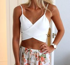 Floral Shorts + White Crop Top.
