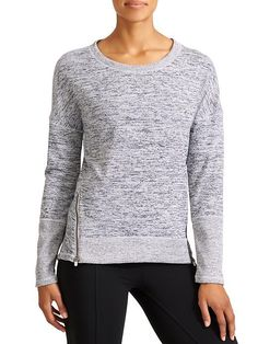 Blissful Sharkbite - Because you can never have too many sweatshirts, we made one in our favorite sporty Techie Sweat with a high-low hem and front zips for mobility.