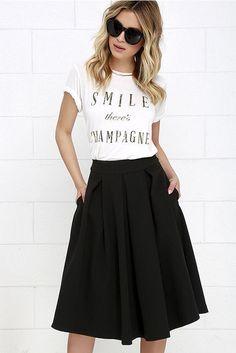 6e24019a8 Las 25 mejores imágenes de falda midi negra en 2019   Falda midi ...